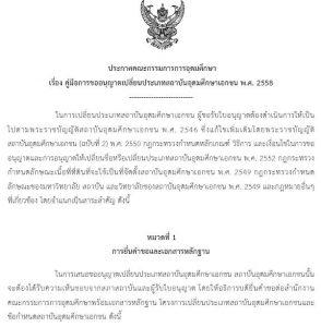 การขออนุญาตเปลี่ยนประเภทสถาบันอุดมศึกษาเอกชน พ.ศ.2558